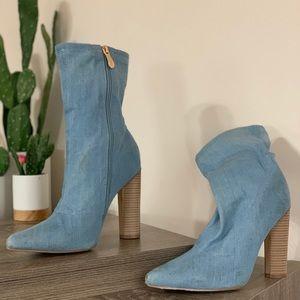Jean pointed toe heels